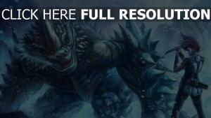 mädchen schnee wind spikes monster messer