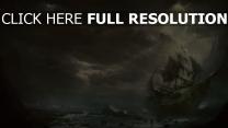 wolken meer schiff segelboot berge zerstörung