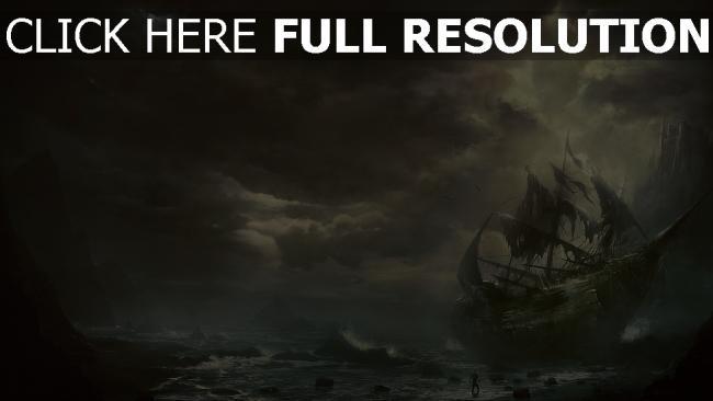 hd hintergrundbilder wolken meer schiff segelboot berge zerstörung
