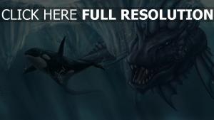 wal meer gletscher mund kreatur