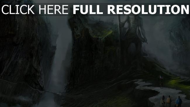 hd hintergrundbilder statue menschen felsen weg touristen wasserfälle