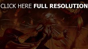 mädchen elf fantasie vogel phoenix
