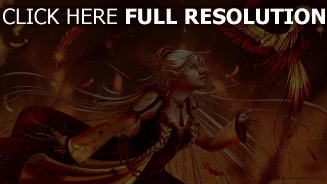 hd hintergrundbilder mädchen elf fantasie vogel phoenix