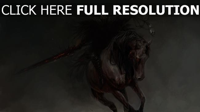 hd hintergrundbilder malerei reiter pferd wizard