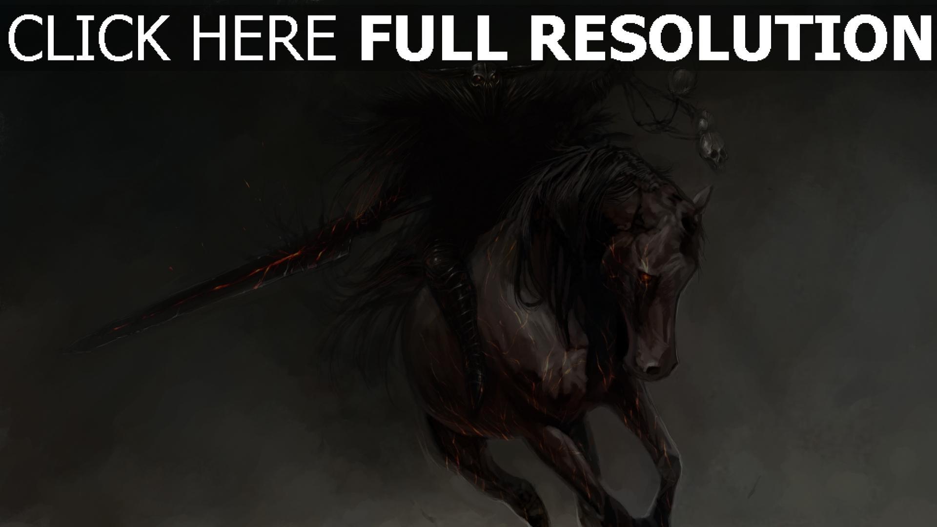 hd hintergrundbilder malerei reiter pferd wizard 1920x1080