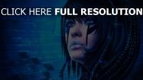 mädchen gesicht sci-fi malerei technologie
