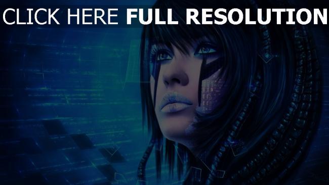 hd hintergrundbilder mädchen gesicht sci-fi malerei technologie