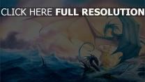 schiff drachen meer wellen