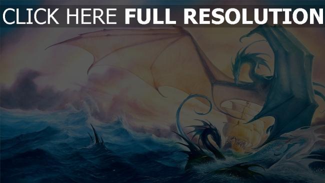 hd hintergrundbilder schiff drachen meer wellen