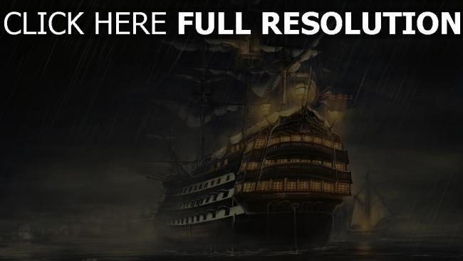 hd hintergrundbilder regen meer schiffe licht