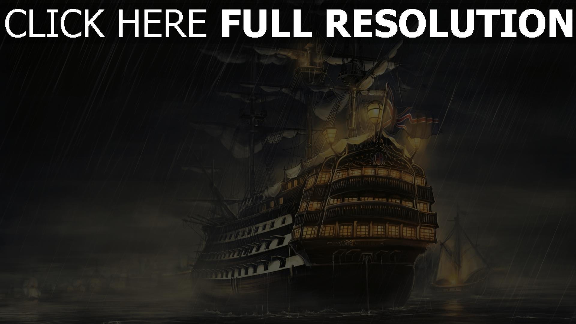 hd hintergrundbilder regen meer schiffe licht 1920x1080