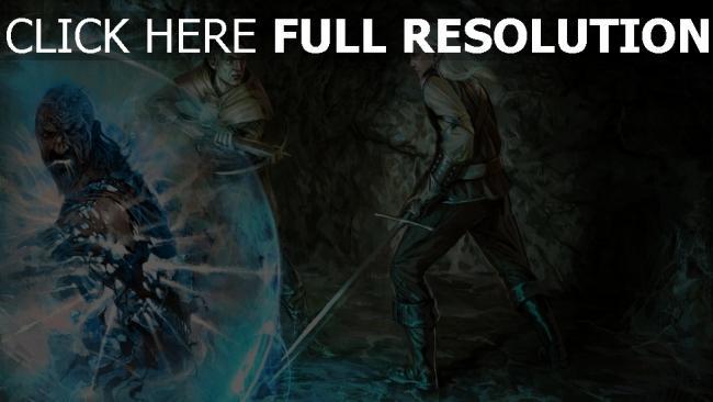 hd hintergrundbilder zauberer hexenmeister männer höhle malerei armbrust the witcher