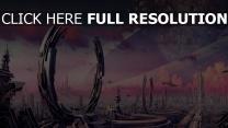 ringe planeten raumschiff verkehr stadt krater fantasie