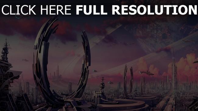 hd hintergrundbilder ringe planeten raumschiff verkehr stadt krater fantasie