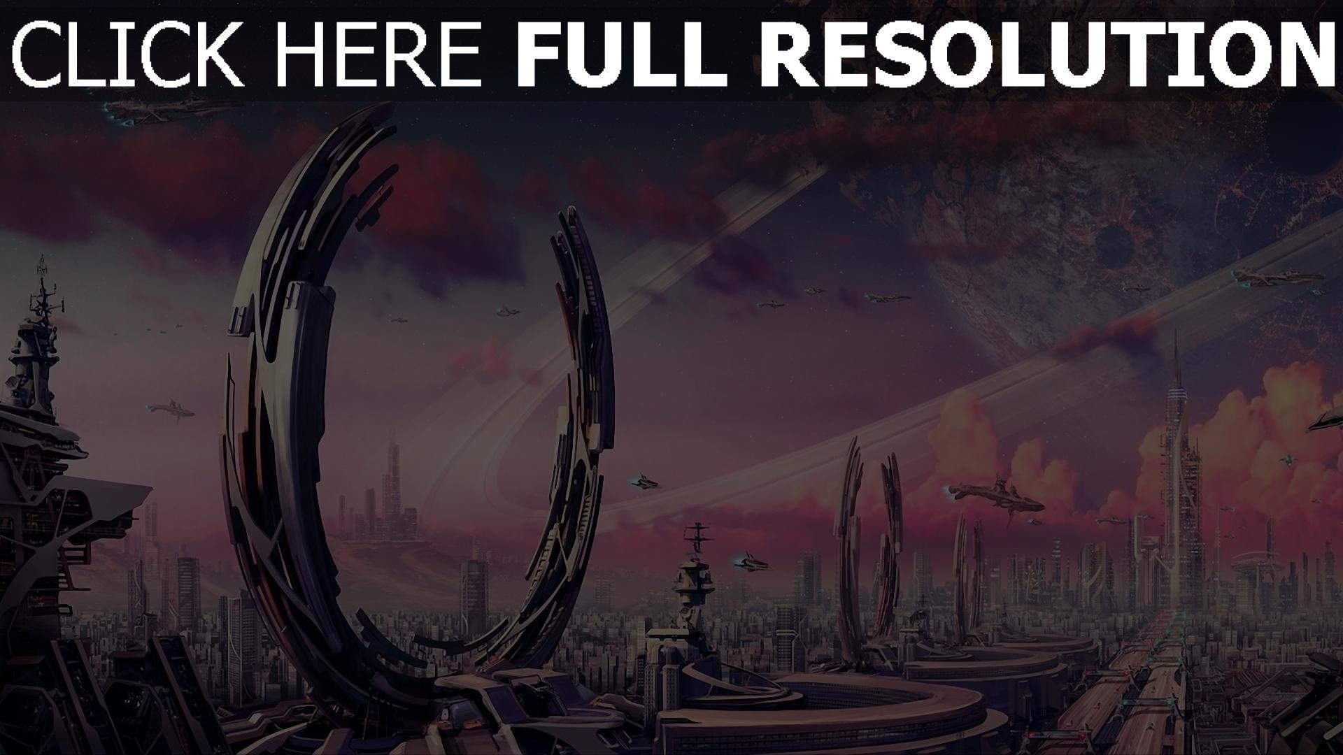 hd hintergrundbilder ringe planeten raumschiff verkehr stadt krater fantasie 1920x1080