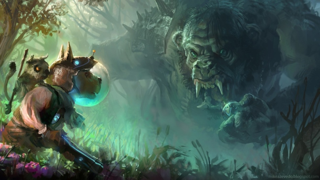 hd hintergrundbilder malerei wald hund troll