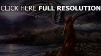 malerei mädchen ufer flügel engel