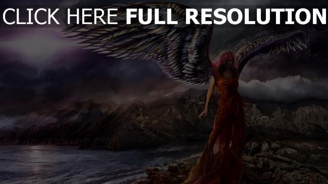 hd hintergrundbilder malerei mädchen ufer flügel engel
