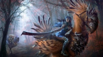 mythago holz mädchen schwert federn rüstung