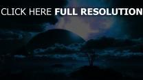 planet nacht landschaft wolken himmel