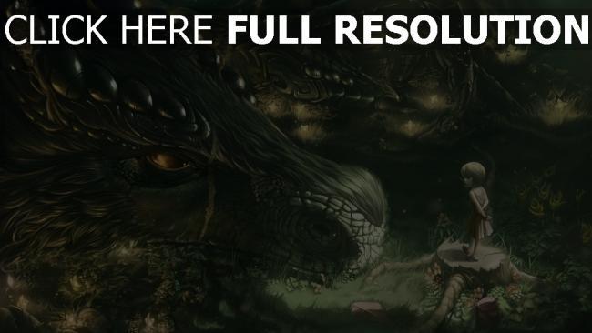 hd hintergrundbilder mädchen drachen schuppe wald
