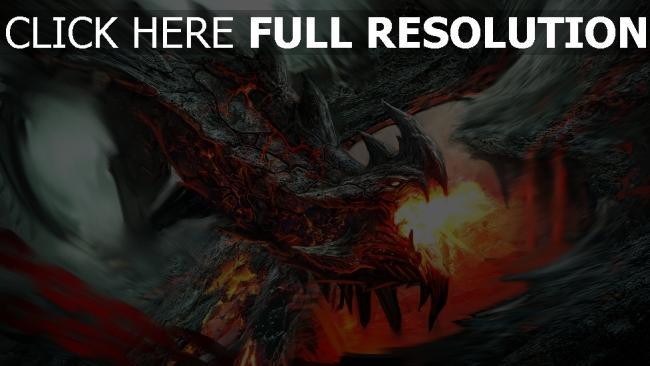 hd hintergrundbilder drachen flamme fliegen schuppe