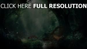 wald tiere hirsche leuchten licht bäume