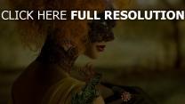 mädchen maske haare rote eidechse
