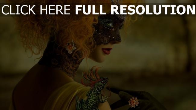 hd hintergrundbilder mädchen maske haare rote eidechse