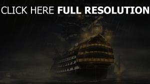 schiff licht mast regen nebel