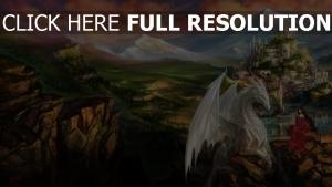 drachen burg berg mädchen tal landschaft