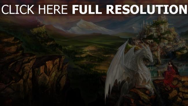 hd hintergrundbilder drachen burg berg mädchen tal landschaft