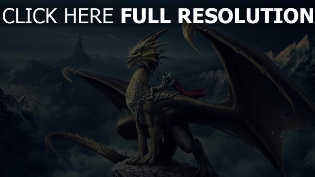 hd hintergrundbilder drachen krieger ritter flügel schuppe castle