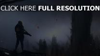 hochhäuser mensch smog luftschiff