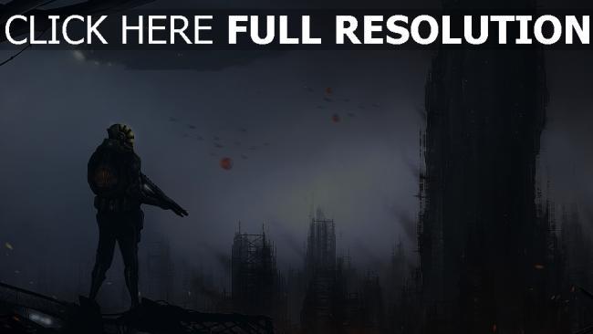 hd hintergrundbilder hochhäuser mensch smog luftschiff