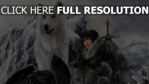 wolf weiß krähe mensch berge schnee