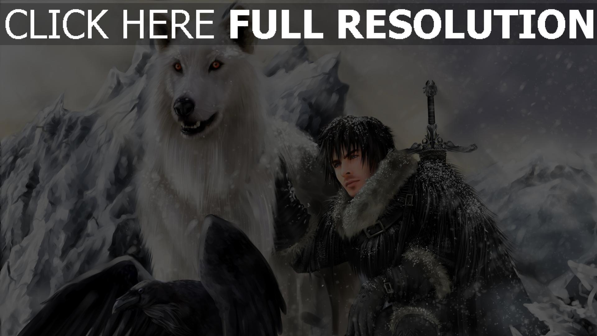 hd hintergrundbilder wolf weiß krähe mensch berge schnee 1920x1080