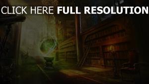 bibliothek globus glühen magie licht