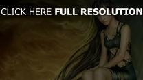 mädchen kleid haare schwarz lang