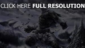 monster gebirge wald krähen wolken