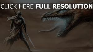 krieger speer dragon reptil knurren