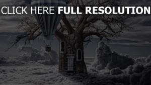 luft ballon baum tür fenster wolken