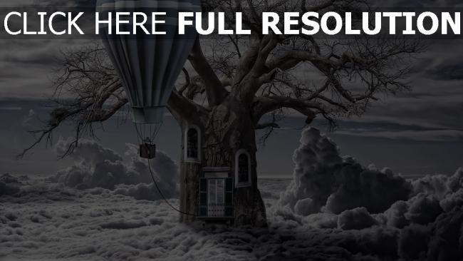 hd hintergrundbilder luft ballon baum tür fenster wolken