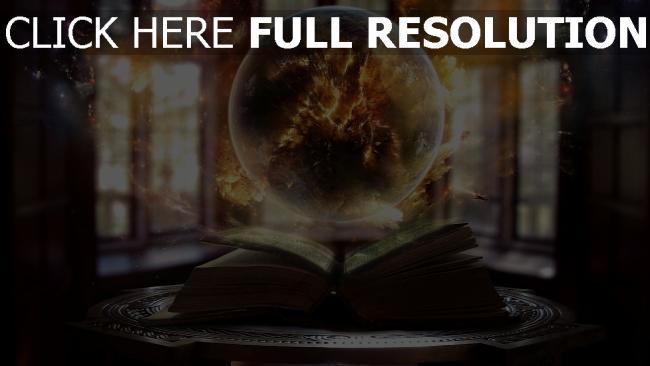 hd hintergrundbilder buch kugel magie explosionen raum