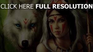 mädchen kämpfen färbung haut wolf weiß