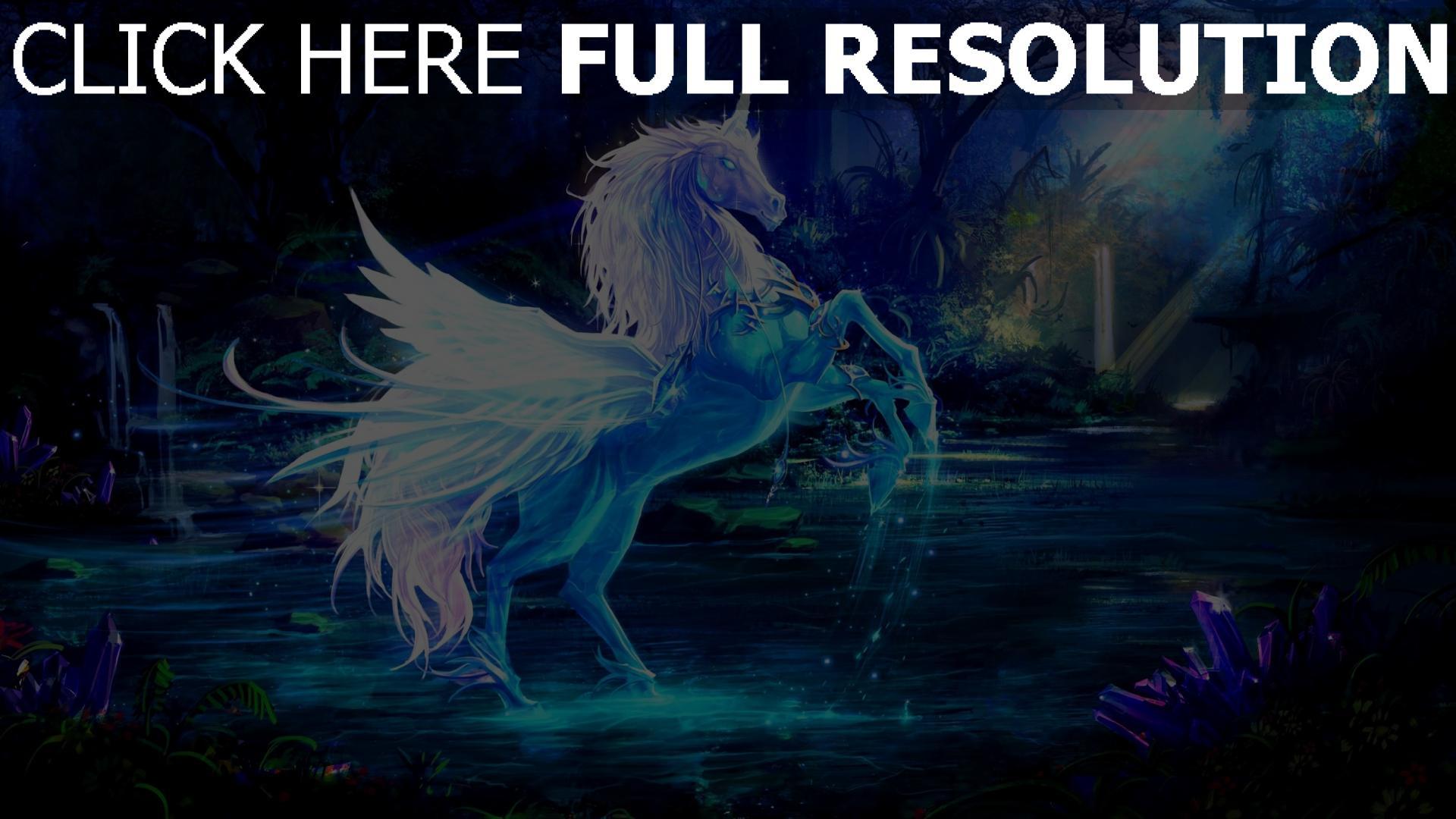 Hd Hintergrundbilder Einhorn Pegasus Wasser Wald Magie Desktop