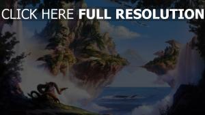 berge inseln dragon kranich flug wasserfall