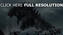godzilla monster meer wellen schiffe