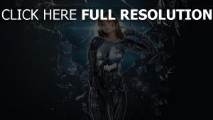 cyborg mädchen glasscherben waffen