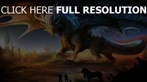 drachen tiere wüste menschen pferde
